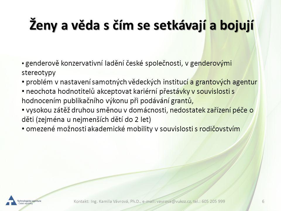 6Kontakt: Ing. Kamila Vávrová, Ph.D., e-mail: vavrova@vukoz.cz, tel.: 605 205 999 Ženy a věda s čím se setkávají a bojují genderově konzervativní ladě