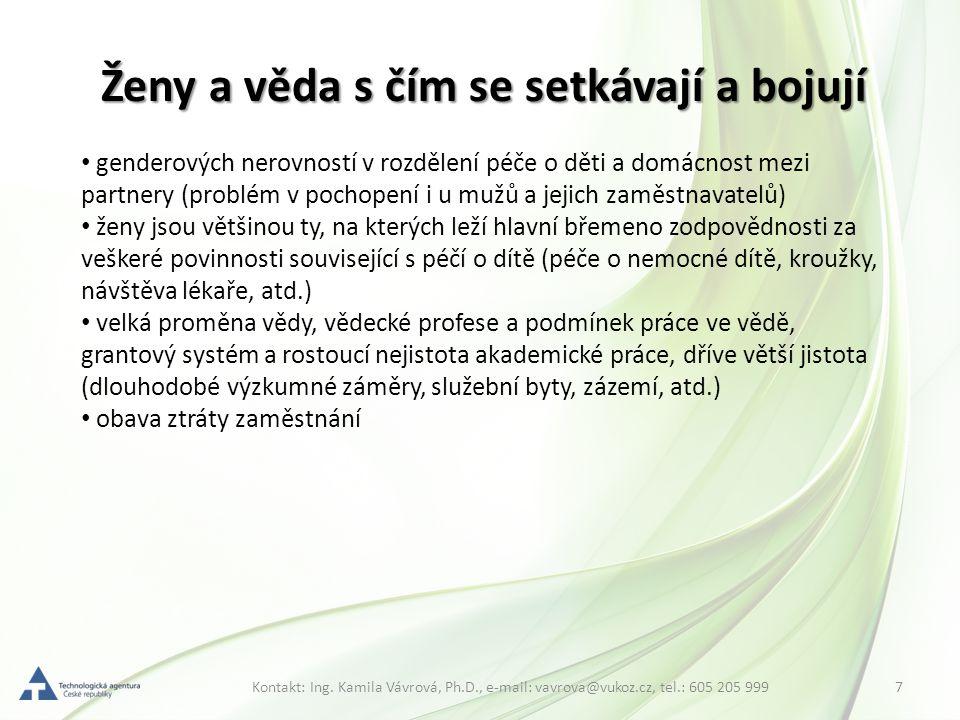 7Kontakt: Ing. Kamila Vávrová, Ph.D., e-mail: vavrova@vukoz.cz, tel.: 605 205 999 Ženy a věda s čím se setkávají a bojují genderových nerovností v roz