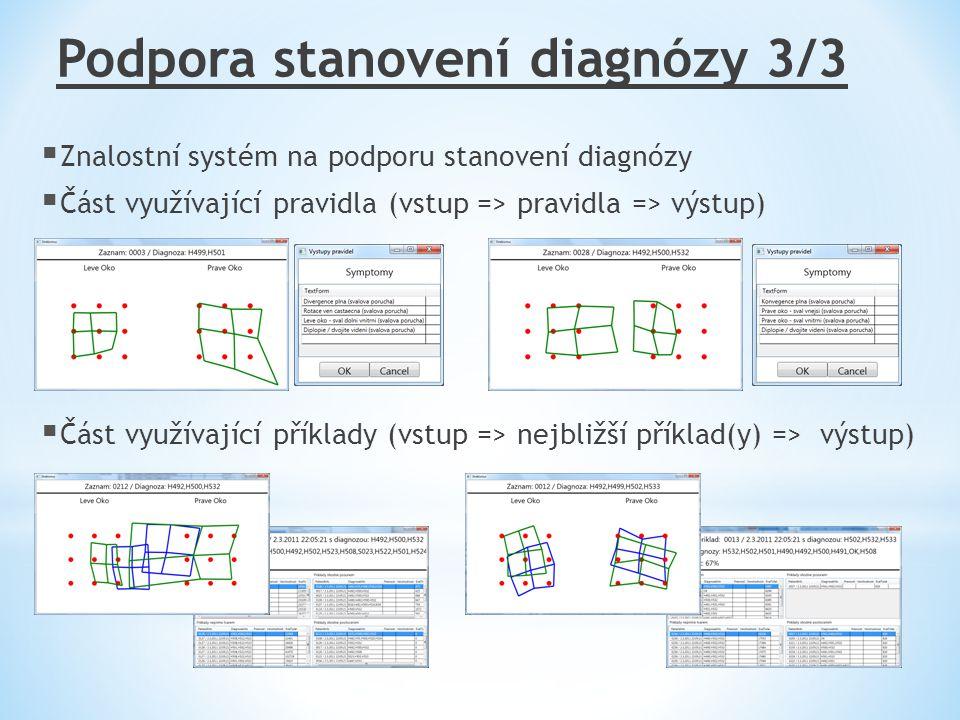 Podpora stanovení diagnózy 3/3  Znalostní systém na podporu stanovení diagnózy  Část využívající pravidla (vstup => pravidla => výstup)  Část využí
