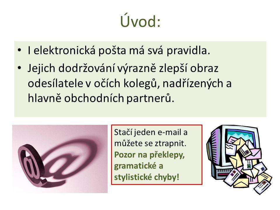 Úvod: I elektronická pošta má svá pravidla. Jejich dodržování výrazně zlepší obraz odesílatele v očích kolegů, nadřízených a hlavně obchodních partner