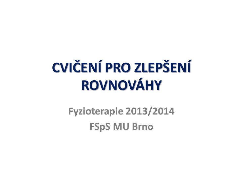 CVIČENÍ PRO ZLEPŠENÍ ROVNOVÁHY Fyzioterapie 2013/2014 FSpS MU Brno