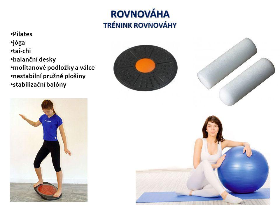 ROVNOVÁHA TRÉNINK ROVNOVÁHY Pilates jóga tai-chi balanční desky molitanové podložky a válce nestabilní pružné plošiny stabilizační balóny