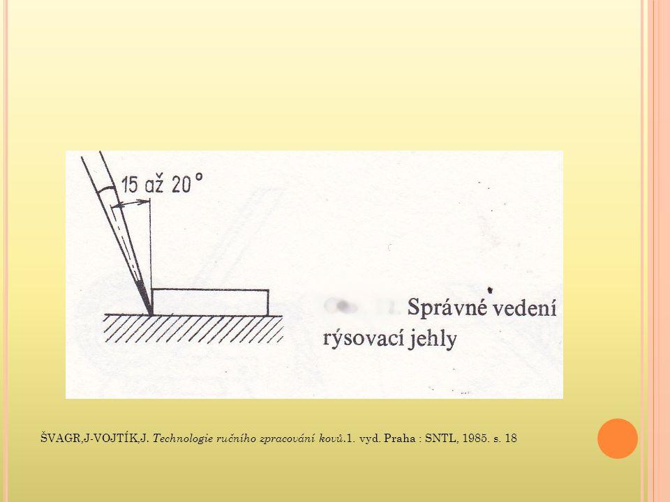 ŠVAGR,J-VOJTÍK,J. Technologie ručního zpracování kovů. 1. vyd. Praha : SNTL, 1985. s. 18