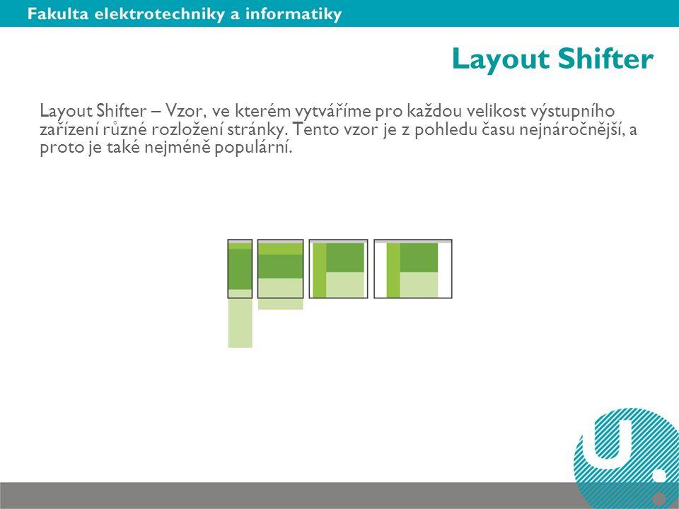 Layout Shifter Layout Shifter – Vzor, ve kterém vytváříme pro každou velikost výstupního zařízení různé rozložení stránky. Tento vzor je z pohledu čas