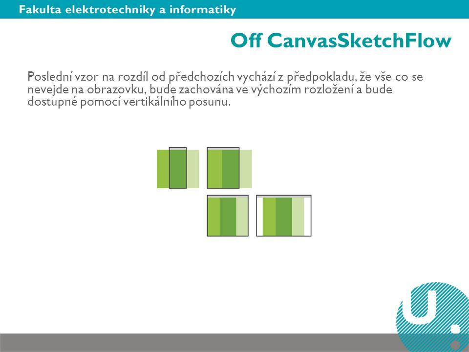 Off CanvasSketchFlow Poslední vzor na rozdíl od předchozích vychází z předpokladu, že vše co se nevejde na obrazovku, bude zachována ve výchozím rozložení a bude dostupné pomocí vertikálního posunu.