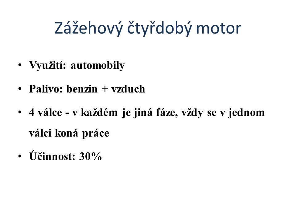 Zážehový čtyřdobý motor Využití: automobily Palivo: benzin + vzduch 4 válce - v každém je jiná fáze, vždy se v jednom válci koná práce Účinnost: 30%
