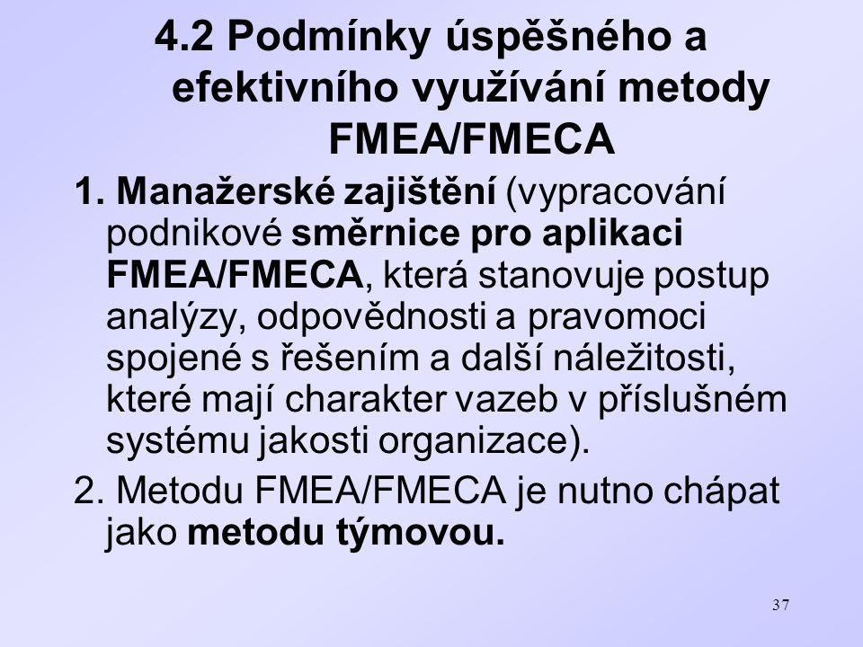 37 4.2 Podmínky úspěšného a efektivního využívání metody FMEA/FMECA 1. Manažerské zajištění (vypracování podnikové směrnice pro aplikaci FMEA/FMECA, k