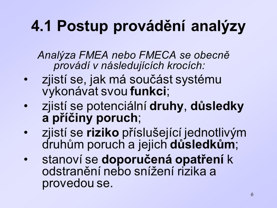 6 4.1 Postup provádění analýzy Analýza FMEA nebo FMECA se obecně provádí v následujících krocích: zjistí se, jak má součást systému vykonávat svou fun