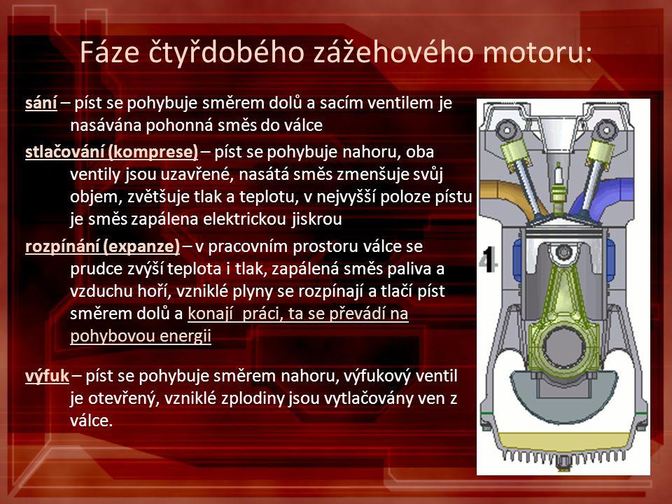 Fáze čtyřdobého zážehového motoru: sání – píst se pohybuje směrem dolů a sacím ventilem je nasávána pohonná směs do válce stlačování (komprese) – píst se pohybuje nahoru, oba ventily jsou uzavřené, nasátá směs zmenšuje svůj objem, zvětšuje tlak a teplotu, v nejvyšší poloze pístu je směs zapálena elektrickou jiskrou konají práci, ta se převádí na pohybovou energii rozpínání (expanze) – v pracovním prostoru válce se prudce zvýší teplota i tlak, zapálená směs paliva a vzduchu hoří, vzniklé plyny se rozpínají a tlačí píst směrem dolů a konají práci, ta se převádí na pohybovou energii výfuk – píst se pohybuje směrem nahoru, výfukový ventil je otevřený, vzniklé zplodiny jsou vytlačovány ven z válce.