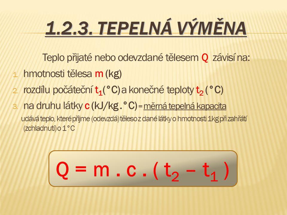 1.2.3. TEPELNÁ VÝMĚNA Teplo přijaté nebo odevzdané tělesem Q závisí na: 1. hmotnosti tělesa m (kg) 2. rozdílu počáteční t 1 (°C) a konečné teploty t 2