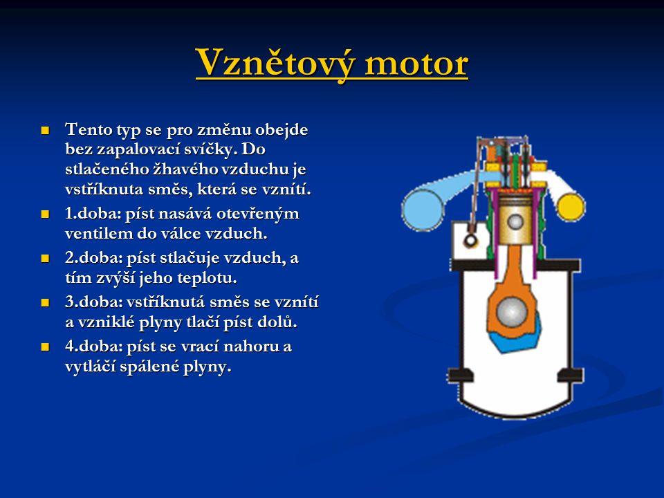 Vznětový motor Vznětový motor Tento typ se pro změnu obejde bez zapalovací svíčky.