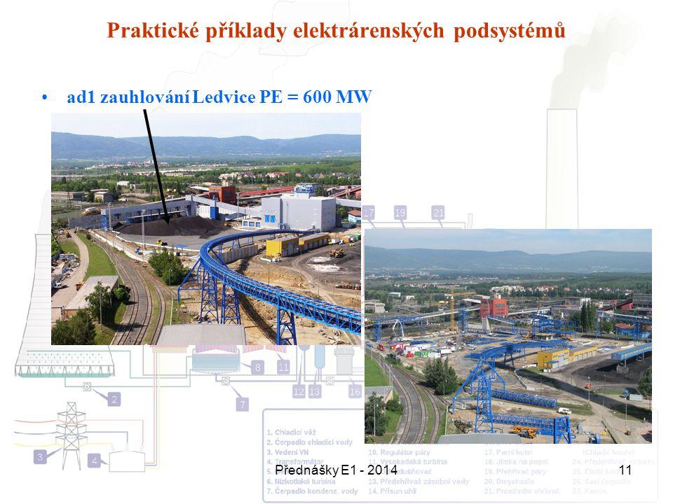 Přednášky E1 - 201411 Praktické příklady elektrárenských podsystémů ad1 zauhlování Ledvice PE = 600 MW