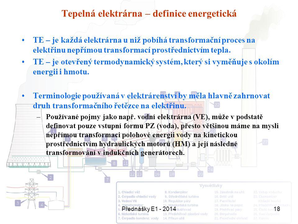 Přednášky E1 - 201418 Tepelná elektrárna – definice energetická TE – je každá elektrárna u niž pobíhá transformační proces na elektřinu nepřímou trans