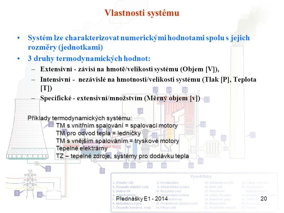 Přednášky E1 - 201420 Vlastnosti systému Systém lze charakterizovat numerickými hodnotami spolu s jejich rozměry (jednotkami) 3 druhy termodynamických