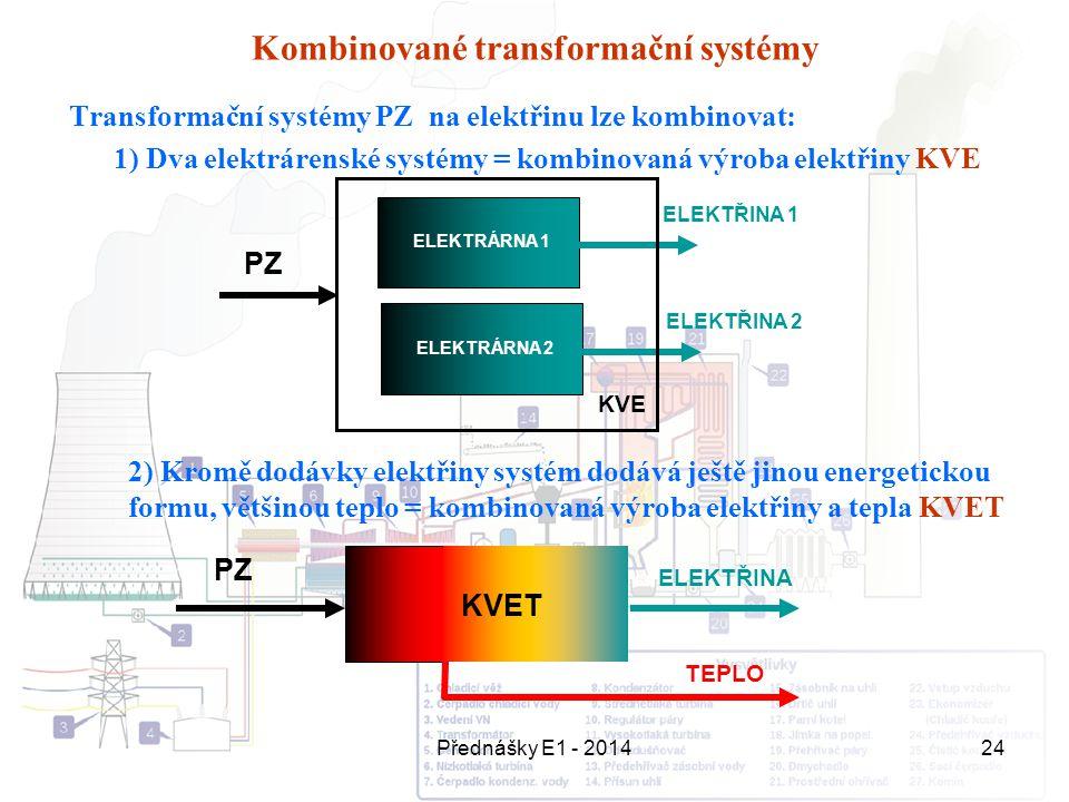 Přednášky E1 - 201424 Kombinované transformační systémy Transformační systémy PZ na elektřinu lze kombinovat: 1) Dva elektrárenské systémy = kombinova