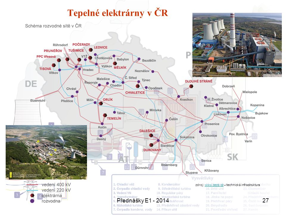 Přednášky E1 - 201427 Tepelné elektrárny v ČR zdroj: www.ceps.cz – technická infrastrukturawww.ceps.cz