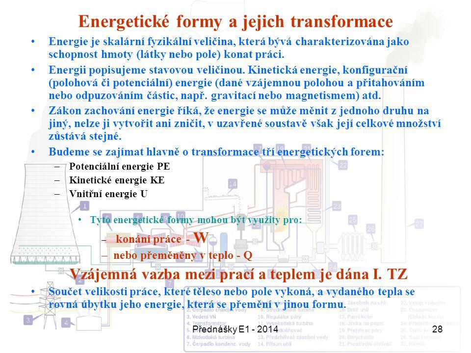 Přednášky E1 - 201428 Energetické formy a jejich transformace Energie je skalární fyzikální veličina, která bývá charakterizována jako schopnost hmoty