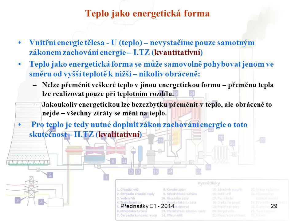 Přednášky E1 - 201429 Teplo jako energetická forma Vnitřní energie tělesa - U (teplo) – nevystačíme pouze samotným zákonem zachování energie – I.TZ (k