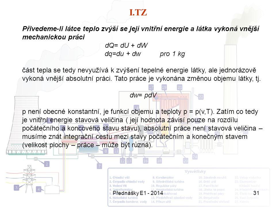 Přednášky E1 - 201431 I.TZ Přivedeme-li látce teplo zvýší se její vnitřní energie a látka vykoná vnější mechanickou práci dQ= dU + dW dq=du + dw pro 1