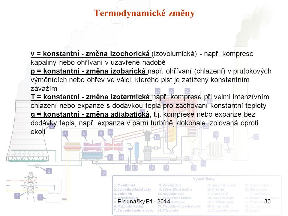 Přednášky E1 - 201433 Termodynamické změny v = konstantní - změna izochorická (izovolumická) - např. komprese kapaliny nebo ohřívání v uzavřené nádobě