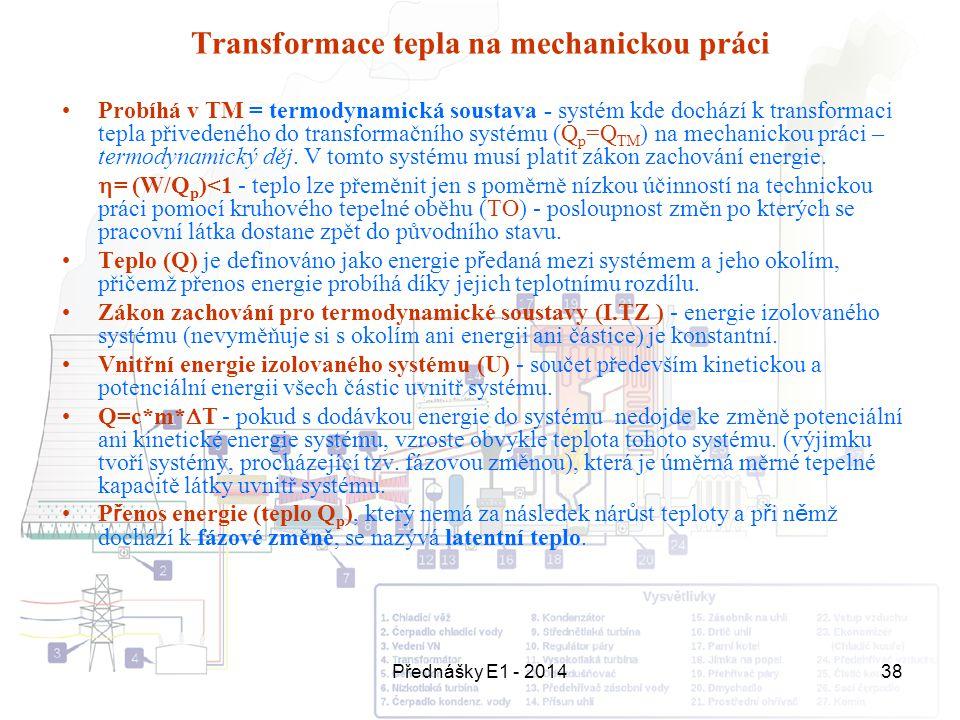 Přednášky E1 - 201438 Transformace tepla na mechanickou práci Probíhá v TM = termodynamická soustava - systém kde dochází k transformaci tepla přivede
