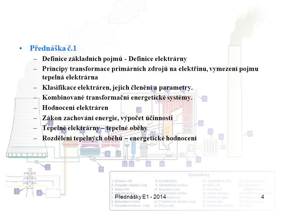 Přednášky E1 - 20144 Přednáška č.1 –Definice základních pojmů - Definice elektrárny –Principy transformace primárních zdrojů na elektřinu, vymezení po