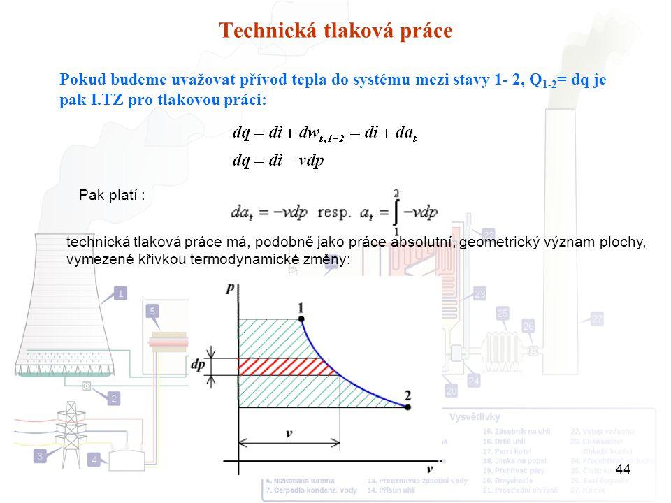 Přednášky E1 - 201444 Technická tlaková práce Pokud budeme uvažovat přívod tepla do systému mezi stavy 1- 2, Q 1-2 = dq je pak I.TZ pro tlakovou práci
