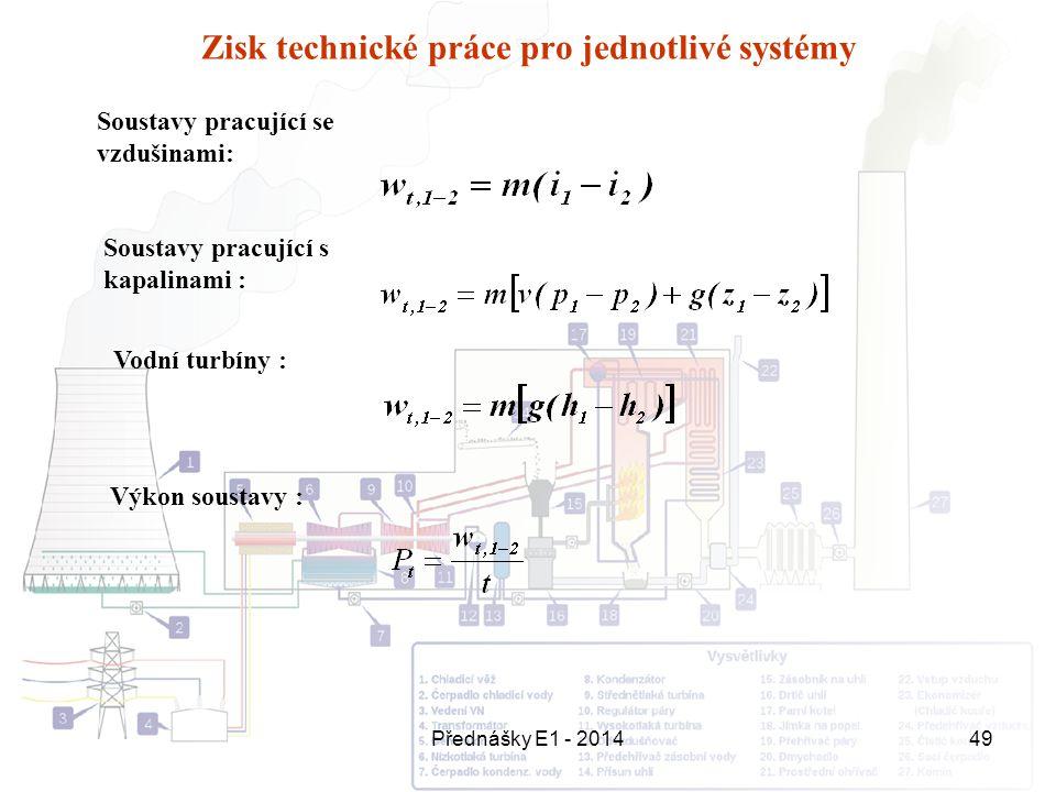 Přednášky E1 - 201449 Zisk technické práce pro jednotlivé systémy Soustavy pracující se vzdušinami: Soustavy pracující s kapalinami : Vodní turbíny :
