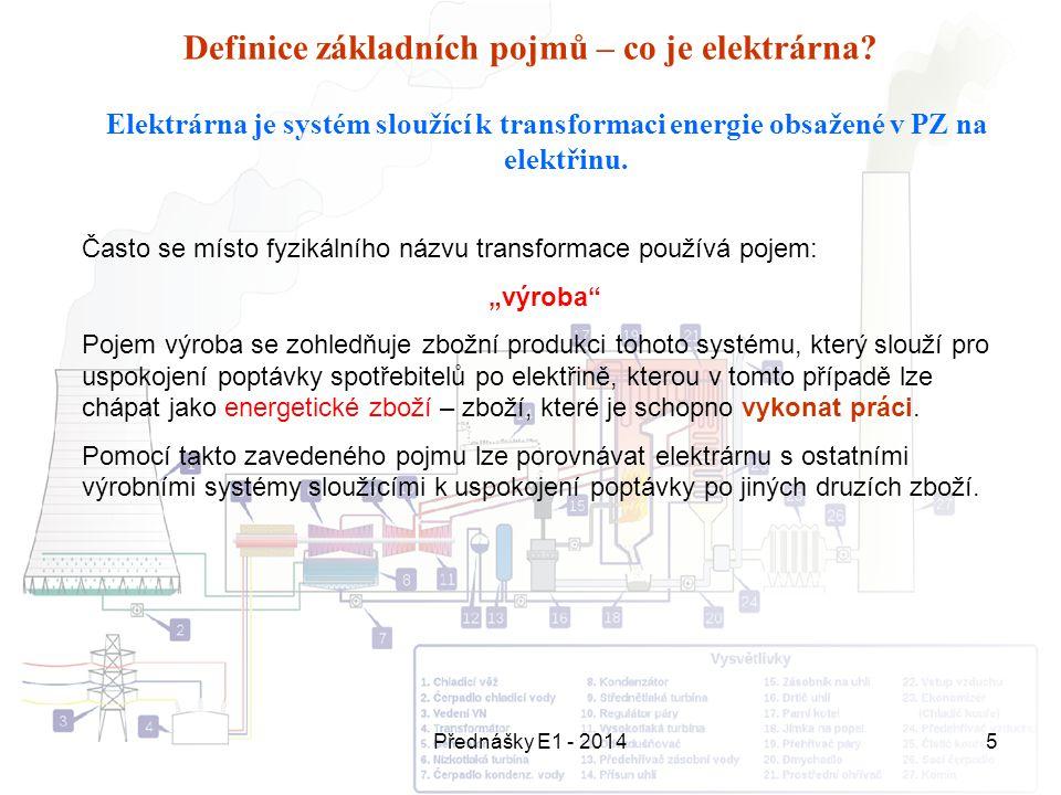 Přednášky E1 - 20145 Definice základních pojmů – co je elektrárna? Elektrárna je systém sloužící k transformaci energie obsažené v PZ na elektřinu. Ča
