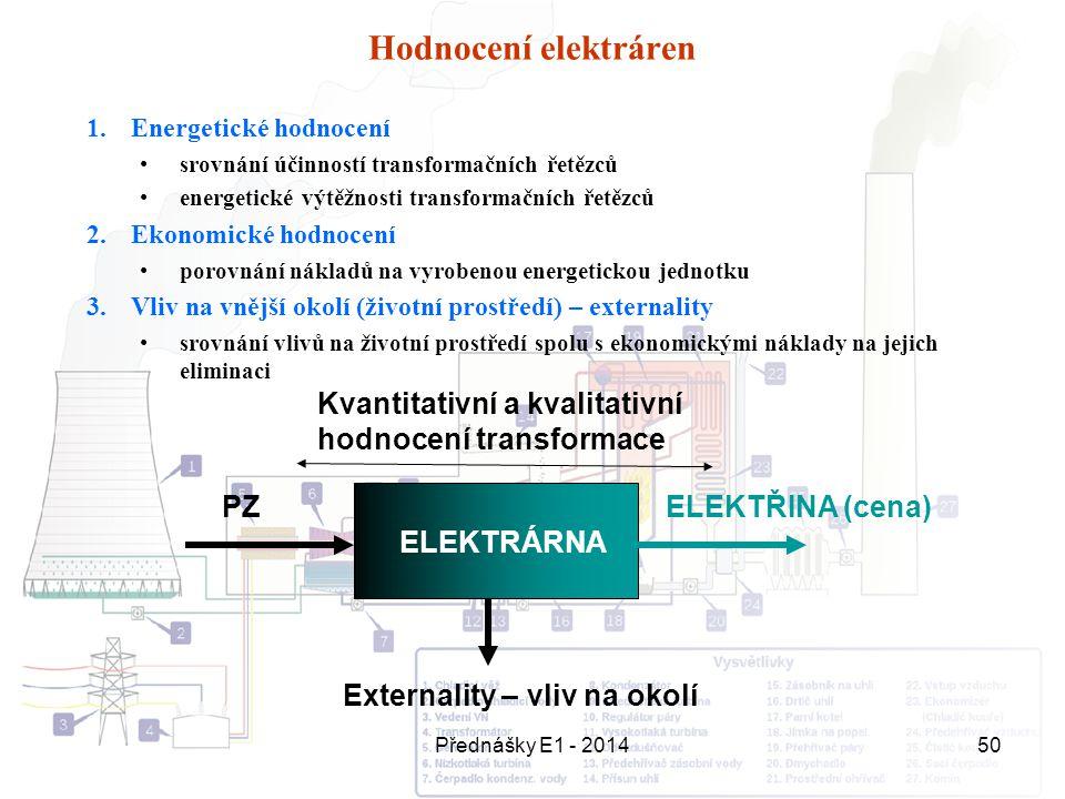 Přednášky E1 - 201450 Hodnocení elektráren 1.Energetické hodnocení srovnání účinností transformačních řetězců energetické výtěžnosti transformačních ř
