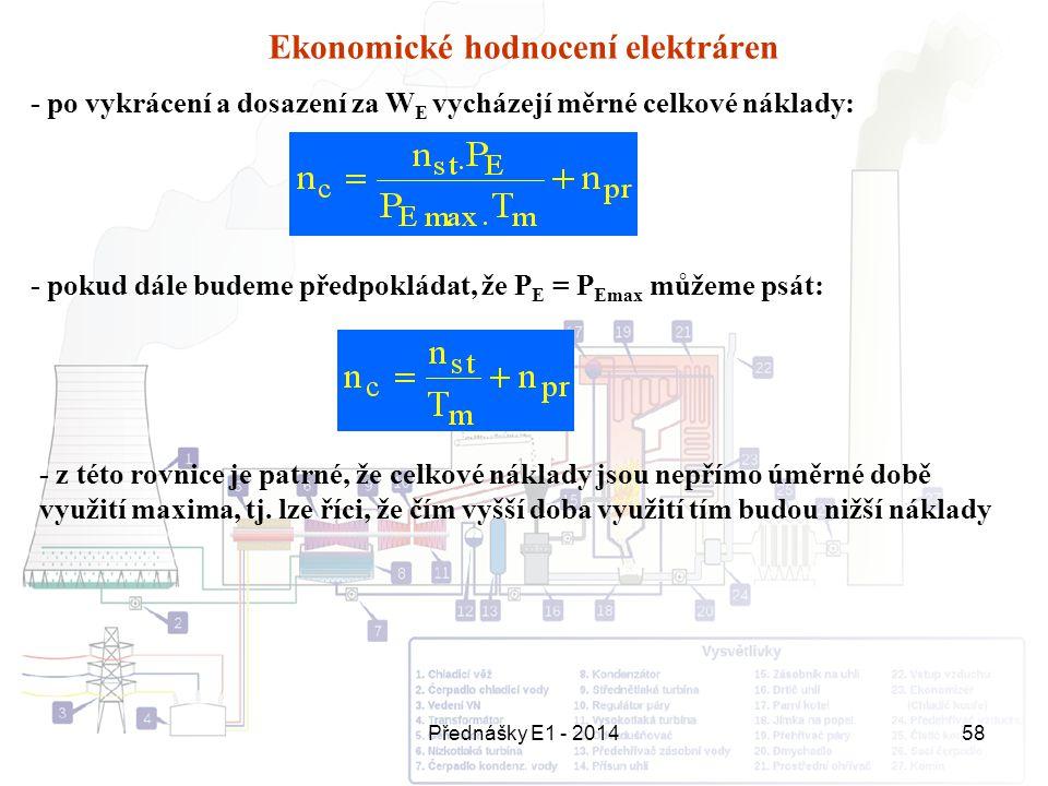 Přednášky E1 - 201458 Ekonomické hodnocení elektráren - po vykrácení a dosazení za W E vycházejí měrné celkové náklady: - pokud dále budeme předpoklád