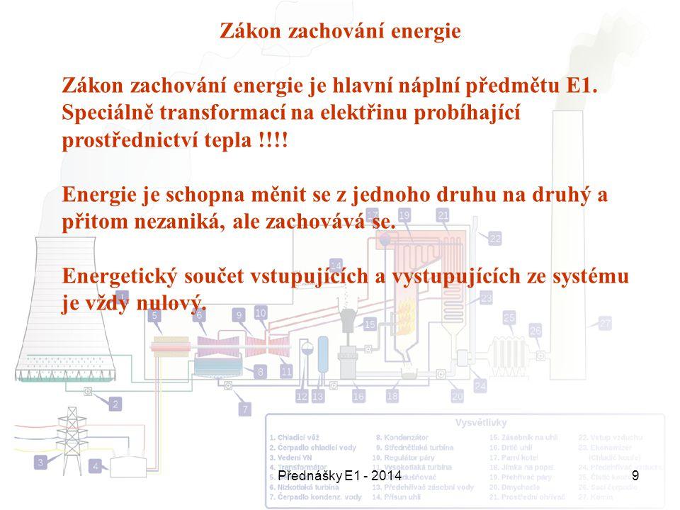 Přednášky E1 - 20149 Zákon zachování energie Zákon zachování energie je hlavní náplní předmětu E1. Speciálně transformací na elektřinu probíhající pro