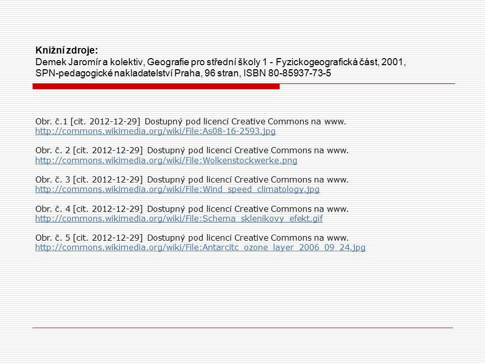 Knižní zdroje: Demek Jaromír a kolektiv, Geografie pro střední školy 1 - Fyzickogeografická část, 2001, SPN-pedagogické nakladatelství Praha, 96 stran
