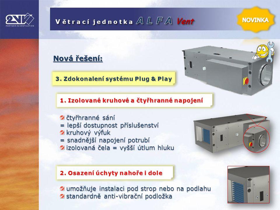 Nová řešení: 3. Zdokonalení systému Plug & Play 1. Izolované kruhové a čtyřhranné napojení čtyřhranné sání čtyřhranné sání = lepší dostupnost přísluše