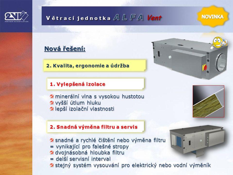 Nová řešení: 2. Kvalita, ergonomie a údržba minerální vlna s vysokou hustotou minerální vlna s vysokou hustotou vyšší útlum hluku vyšší útlum hluku le
