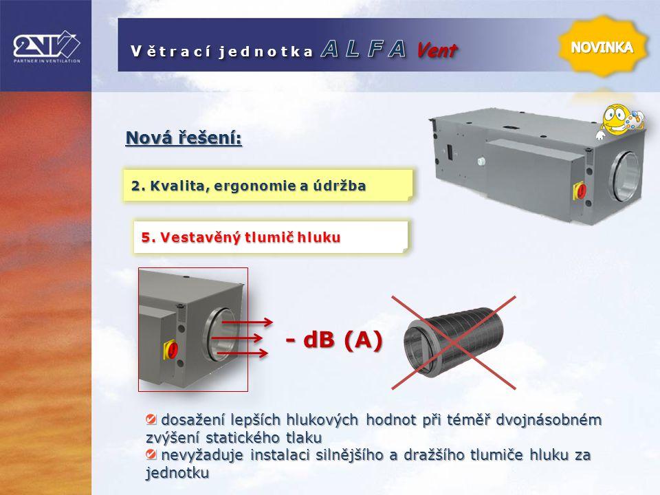 Nová řešení: 2. Kvalita, ergonomie a údržba dosažení lepších hlukových hodnot při téměř dvojnásobném zvýšení statického tlaku dosažení lepších hlukový