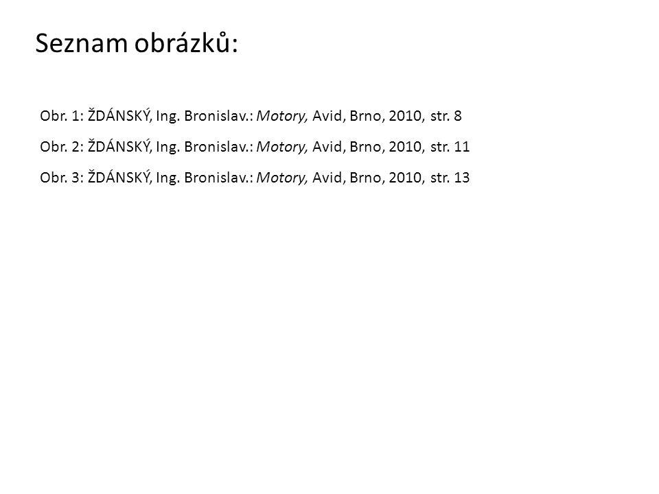Seznam obrázků: Obr. 1: ŽDÁNSKÝ, Ing. Bronislav.: Motory, Avid, Brno, 2010, str. 8 Obr. 2: ŽDÁNSKÝ, Ing. Bronislav.: Motory, Avid, Brno, 2010, str. 11