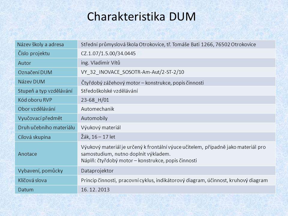 Charakteristika 1 DUM Název školy a adresa Střední průmyslová škola Otrokovice, tř. Tomáše Bati 1266, 76502 Otrokovice Číslo projektu CZ.1.07/1.5.00/3