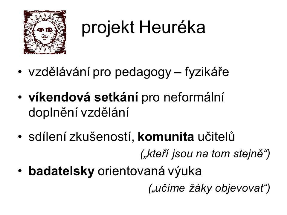"""projekt Heuréka vzdělávání pro pedagogy – fyzikáře víkendová setkání pro neformální doplnění vzdělání sdílení zkušeností, komunita učitelů (""""kteří jsou na tom stejně ) badatelsky orientovaná výuka (""""učíme žáky objevovat )"""