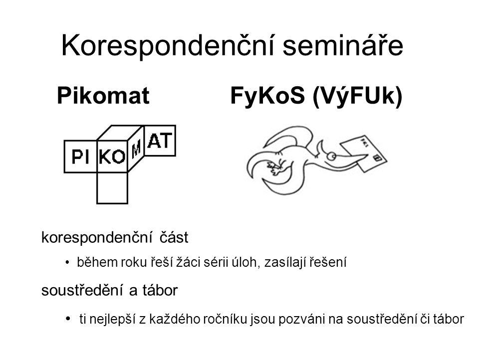 Korespondenční semináře FyKoS (VýFUk)Pikomat korespondenční část během roku řeší žáci sérii úloh, zasílají řešení soustředění a tábor ti nejlepší z každého ročníku jsou pozváni na soustředění či tábor