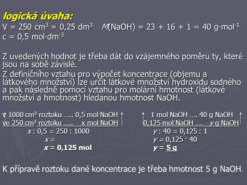 Příklad 4 Vypočítejte hmotnost roztoku kyseliny sírové o hmotnostním zlomku w = 10 % potřebnou k přípravě 100 cm 3 roztoku o koncentraci c = 0,5 mol∙dm -3.