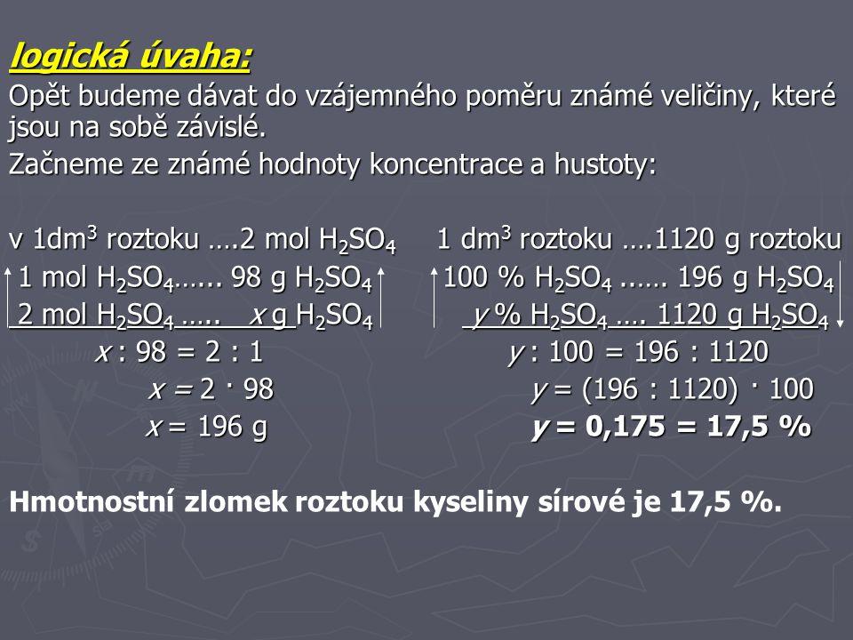 Příklad 6 Vypočítejte jak připravíte 100 g roztoku KOH o hmotnostním zlomku 45 %, použijeme-li roztoky o hmotnostních zlomcích 60 % a 10 %.