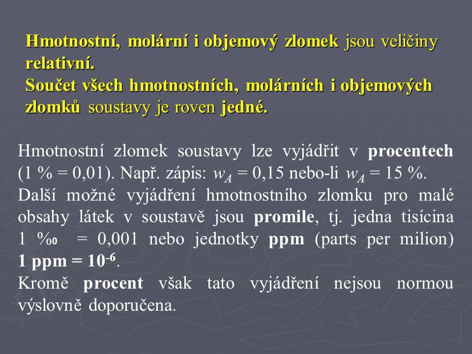 """Koncentrace látkového množství c i jednotky: mol.m -3, mol.dm -3 """"molární koncentrace – nesprávný název """"látková koncentrace – vhodný zkrácený název Podíl množství složky a objemu soustavy Hmotnostní koncentrace c m (c g ) jednotky: kg∙m -3, g.cm -3, kg∙dm -3, g.dm -3 Označení pro hmotnostní koncentraci není v literatuře jednotné."""