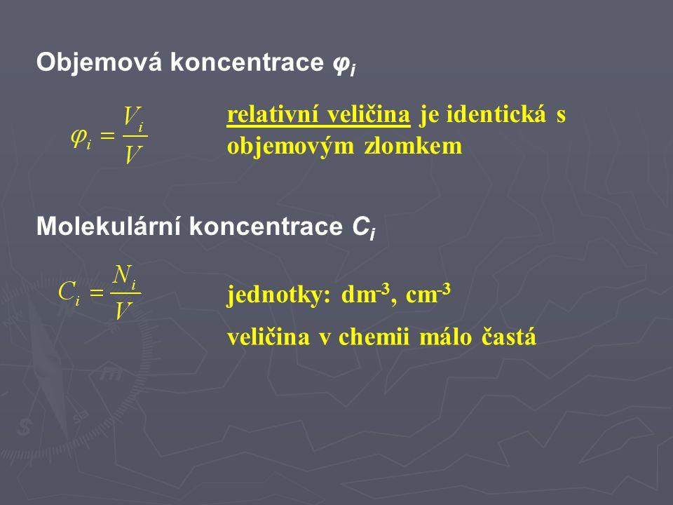 Další způsoby vyjádření složení roztoků méně časté způsoby vyjádření složení roztoků lze se s nimi setkat ve starší literatuře některé už se nesmí používat (normalita, molarita) Molalita μ i jednotky: mol.kg -1, mol.g -1 Molarita M (c m ) starší pojem pro látkovou koncentraci termín by se již neměl používat k vyjádření koncentrace označení 0,1M-HCl – pouze jako zkratka zápisu druhu roztoku