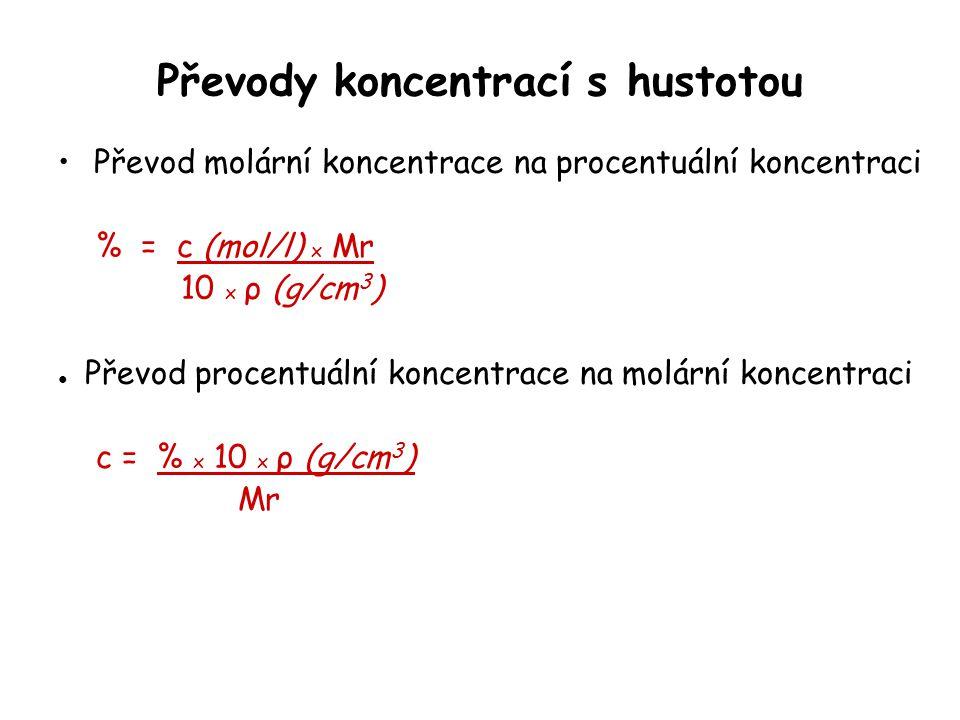 Převody koncentrací s hustotou Převod molární koncentrace na procentuální koncentraci % = c (mol/l) x Mr 10 x ρ (g/cm 3 ) ● Převod procentuální koncen