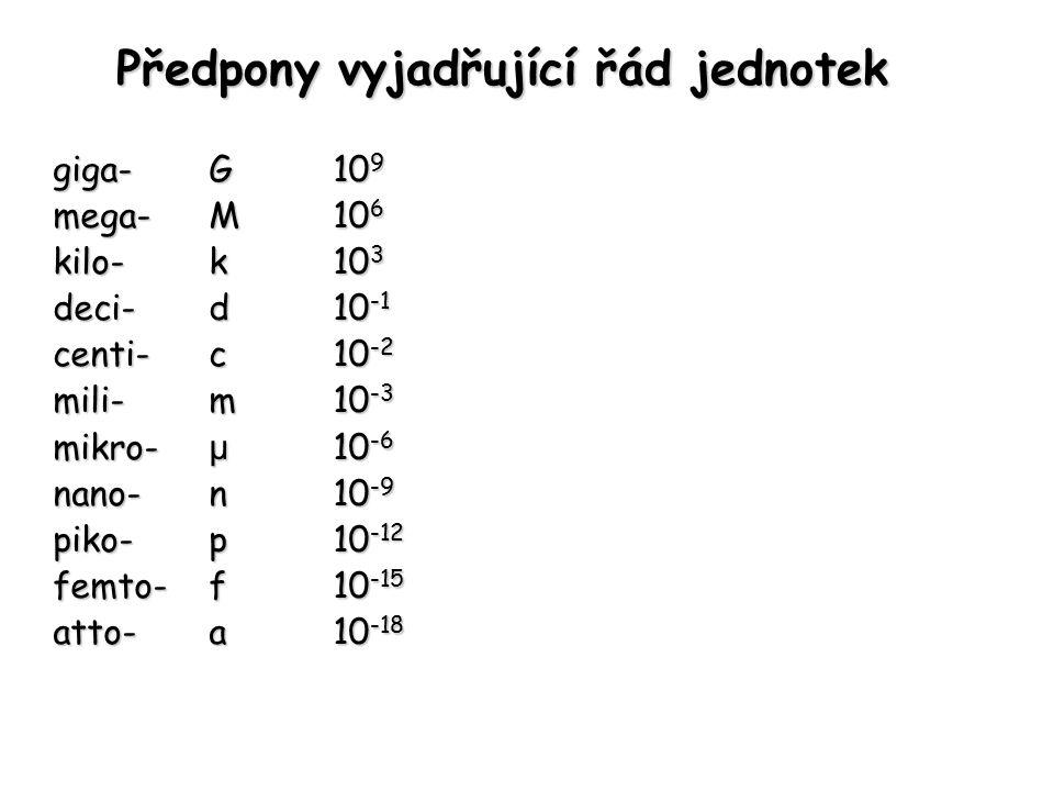 Předpony vyjadřující řád jednotek giga-G 10 9 mega- M 10 6 kilo-k 10 3 deci-d 10 -1 centi-c 10 -2 mili-m 10 -3 mikro- μ 10 -6 nano-n 10 -9 piko-p 10 -