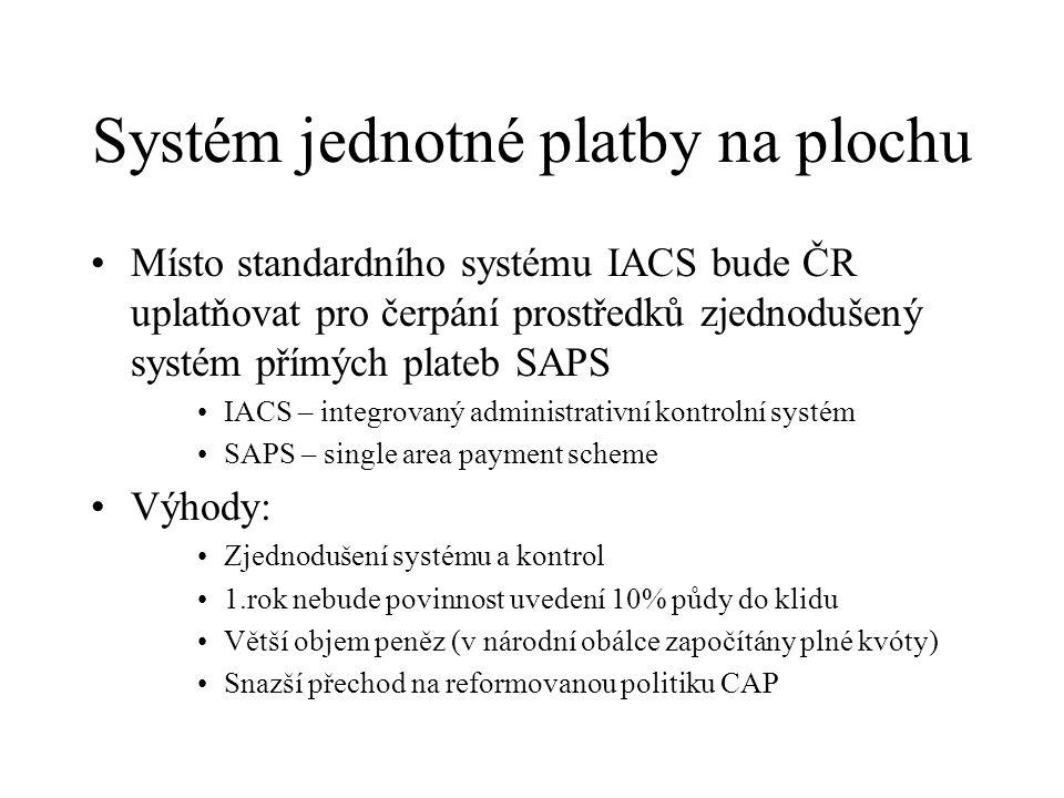 Systém jednotné platby na plochu Místo standardního systému IACS bude ČR uplatňovat pro čerpání prostředků zjednodušený systém přímých plateb SAPS IACS – integrovaný administrativní kontrolní systém SAPS – single area payment scheme Výhody: Zjednodušení systému a kontrol 1.rok nebude povinnost uvedení 10% půdy do klidu Větší objem peněz (v národní obálce započítány plné kvóty) Snazší přechod na reformovanou politiku CAP