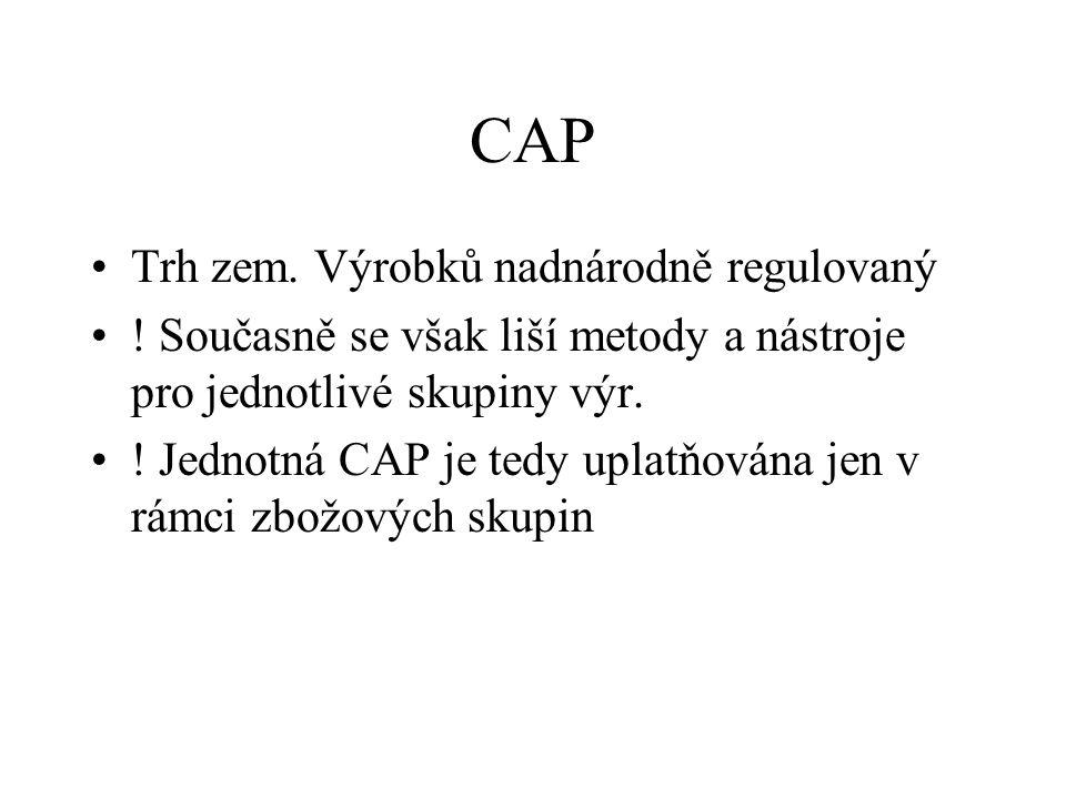 CAP před reformou 1992 Cenový mechanismus –zákl.