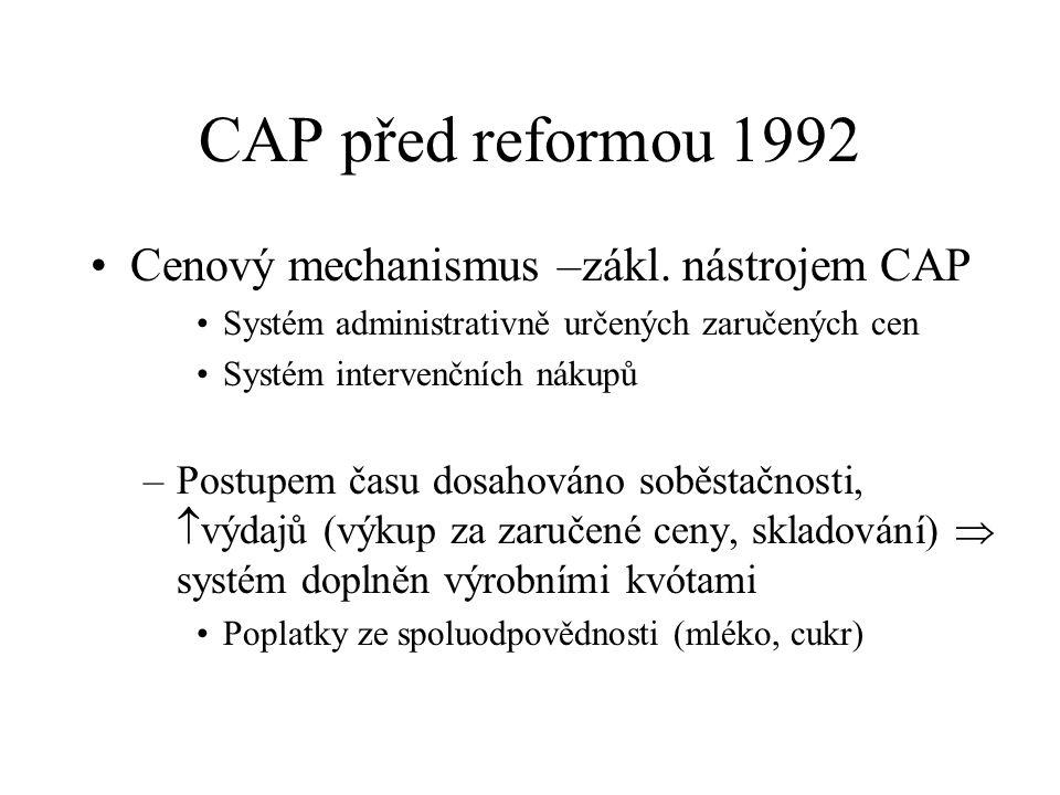 """Reforma CAP ´2003 3)snižování přímých plateb (""""degrese plateb ) větším zemědělským podnikům  získání většího objemu prostředků na rozvoj venkova a na financování dalších reforem 4) revize tržní politiky v rámci CAP Snižování intervenčních cen Revize kvót"""