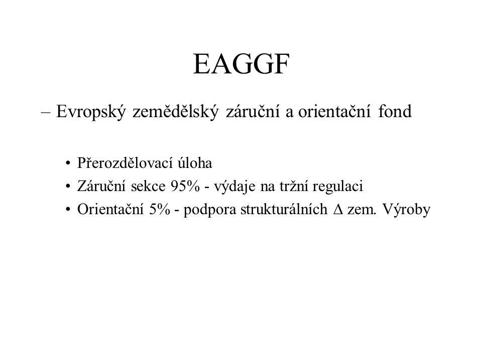 EAGGF –Evropský zemědělský záruční a orientační fond Přerozdělovací úloha Záruční sekce 95% - výdaje na tržní regulaci Orientační 5% - podpora strukturálních  zem.